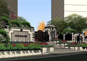 新古典风格居住区景观SU(草图大师)精致设计模型