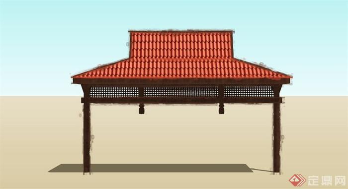 现代中式木亭子大门设计su模型(3)