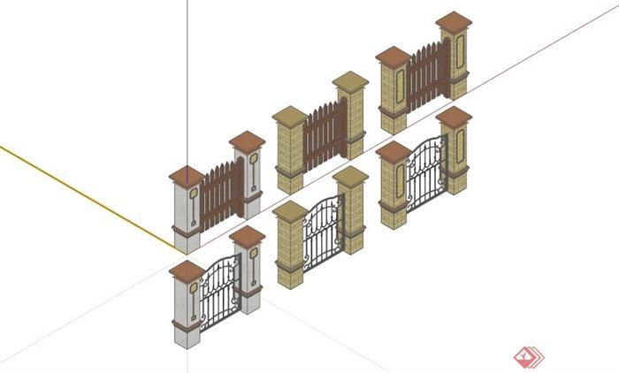 欧式围栏栏杆设计合集su模型(1)