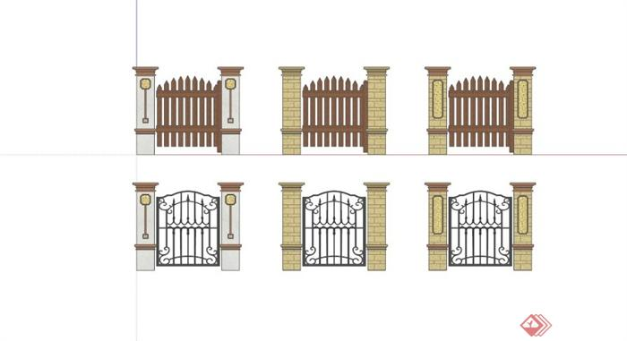 欧式围栏栏杆设计合集su模型(2)