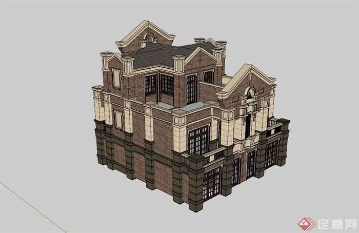 欧式大气别墅建筑设计su模型[原创]