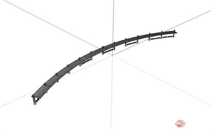 某现代风格钢结构廊架设计su模型[原创]
