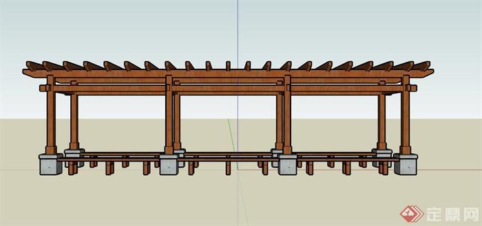 现代木制座椅廊架设计su模型(3)