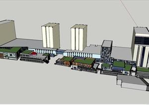简单小型商业建筑设计SU(草图大师)模型