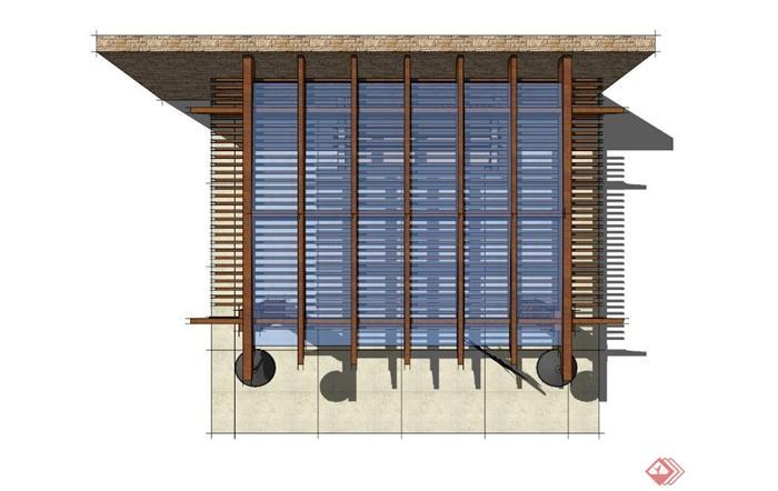 现代休闲木玻璃廊架设计su模型(2)