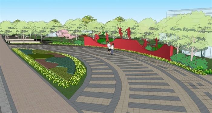 某绿地公园景观方案su精细设计模型[原创]图片