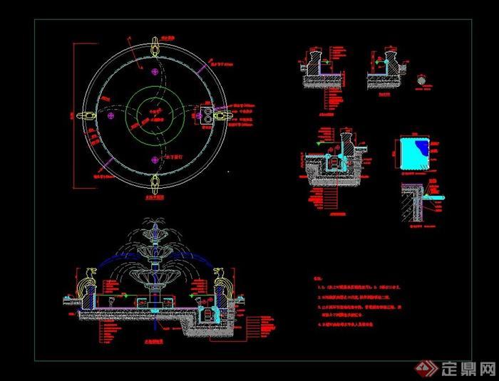 欧式喷泉水池设计cad施工图