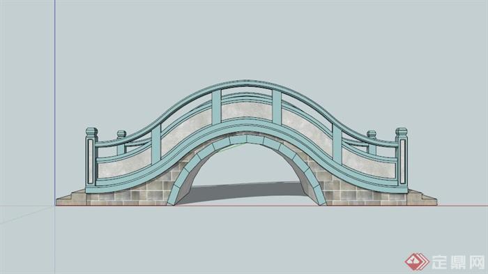 现代中式园桥设计su模型