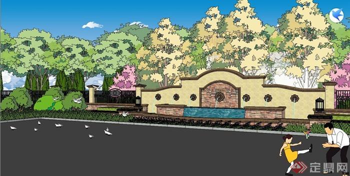 某欧式风格小区大门设计及小区中庭景观设计su模型(5)