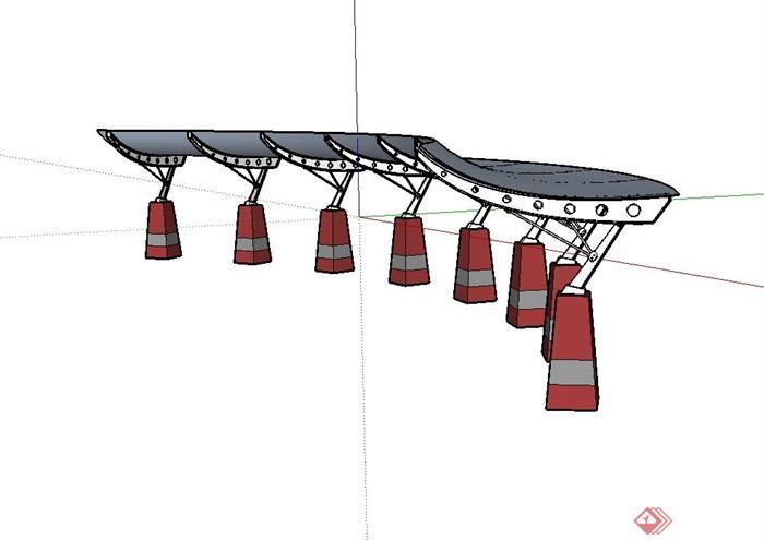现代风格钢结构廊架设计su模型[原创]