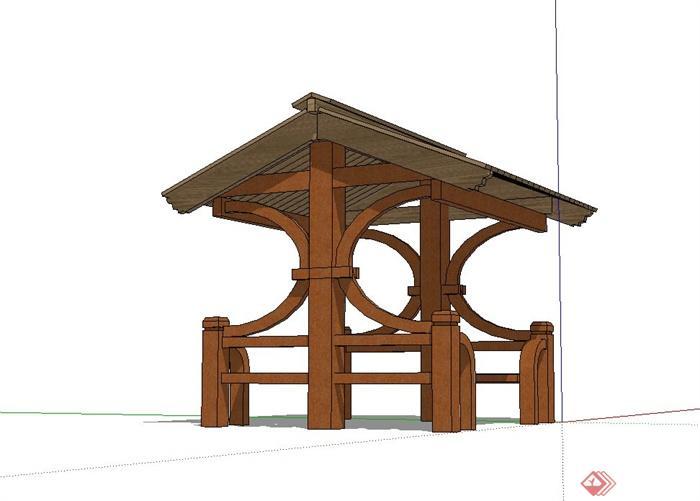 某现代中式风格全木质亭子设计su模型[原创]