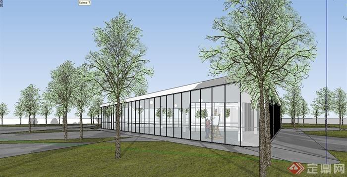 某現代風格單層辦公樓建筑及景觀設計su模型