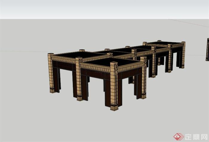欧式镂空休闲廊架su模型(1)