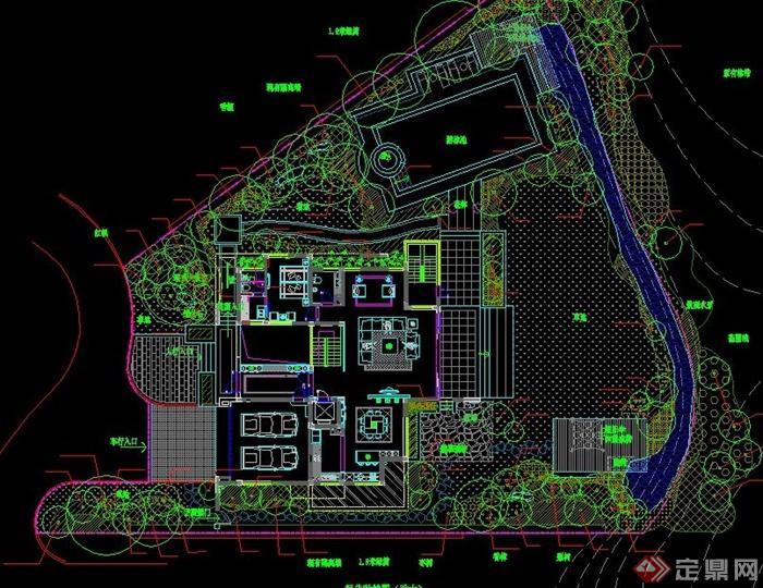 40套别墅庭院私家花园景观设计cad平面图(2)
