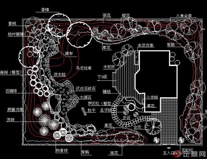 40套别墅庭院私家花园景观设计cad平面图(4)