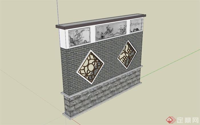 中式木镂空景墙设计su模型(1)
