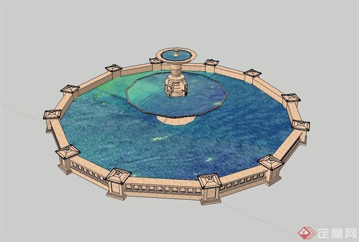 欧式广场喷泉水池设计su模型,模型有材质贴图,风格为欧式风格,造型美观,是一个很不错的景观节点资料,可用作景观设计素材使用,欢迎下载使用。