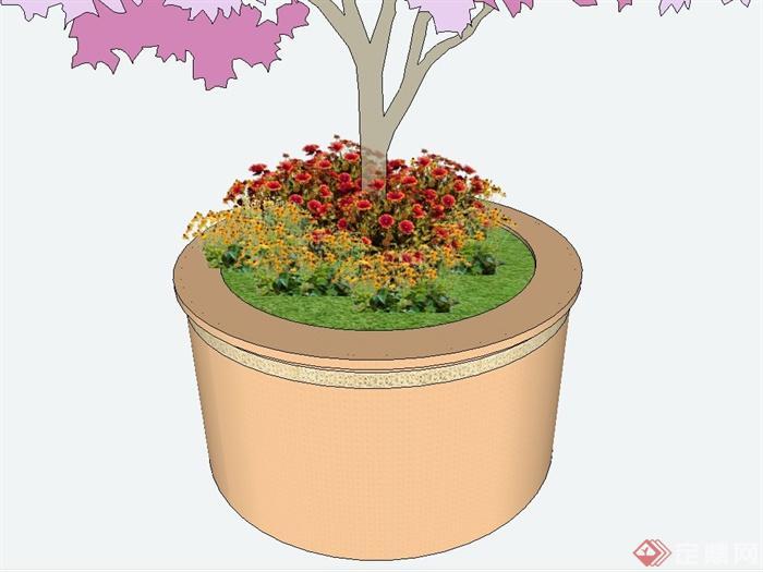某欧式风格圆形树池花池设计su模型