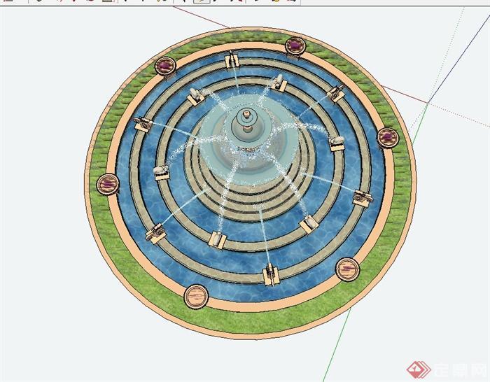 某欧式住宅小区入口景观水钵设计su模型