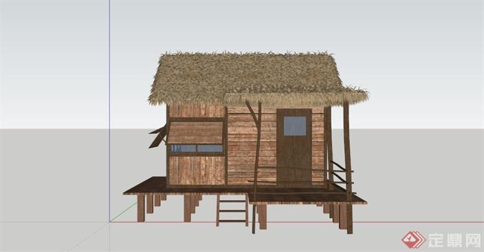 现代中式乡村茅草房设计su模型