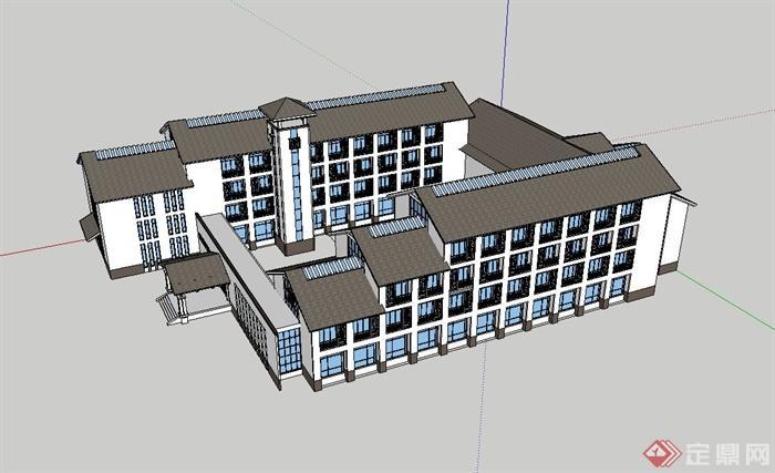 某现代中式酒店建筑设计su模型(3)图片