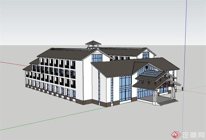 某现代中式酒店建筑设计su模型(2)图片