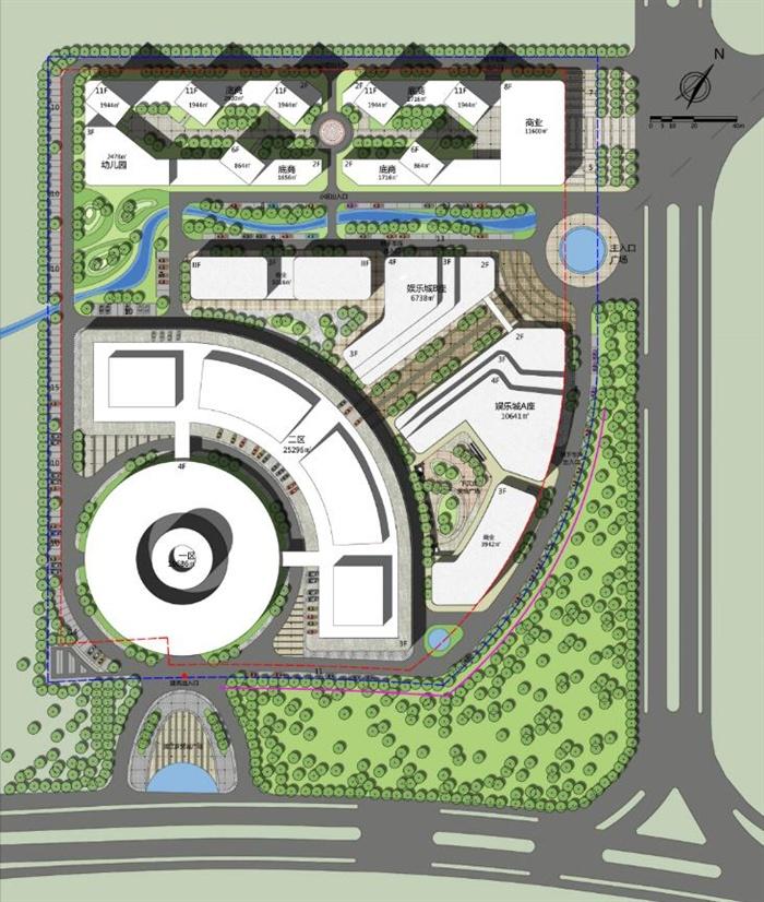 某现代城市商业景观及建筑综合体规划设计pdf总图