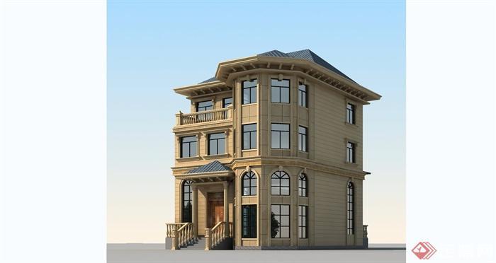 小型别墅建筑设计cad方案图+效果图