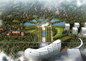 某现代厂区中轴广场概念设计方案psd效果图