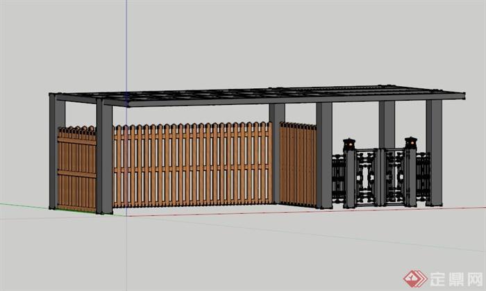 现代中式别墅庭院大门设计su模型