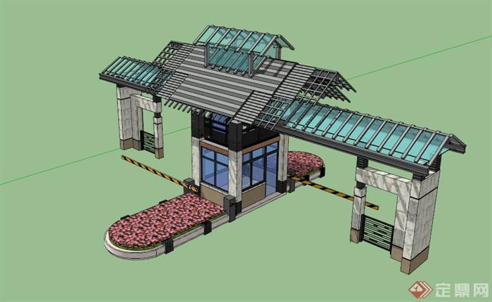 现代中式小区大门入口设计su模型(1)图片