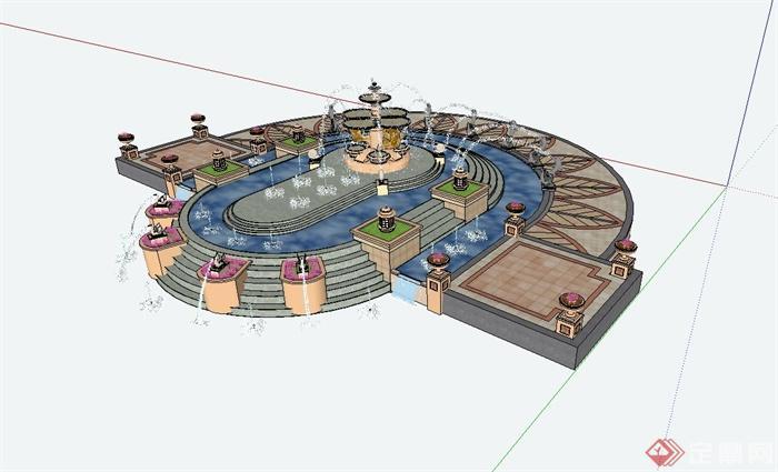 某欧式风格广场景观水景设计su模型图片