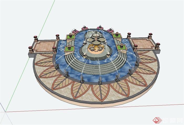 某欧式风格广场景观水景设计su模型,模型可直接用于小区广场设计师使用,模型制作详细精致,有材质贴图,细节处理较好,材质处理得当,具有一定参考价值。