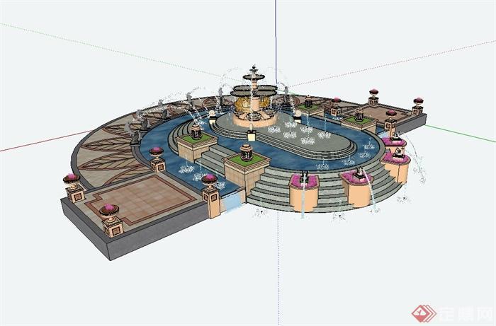 某欧式风格广场景观水景设计su模型(3)