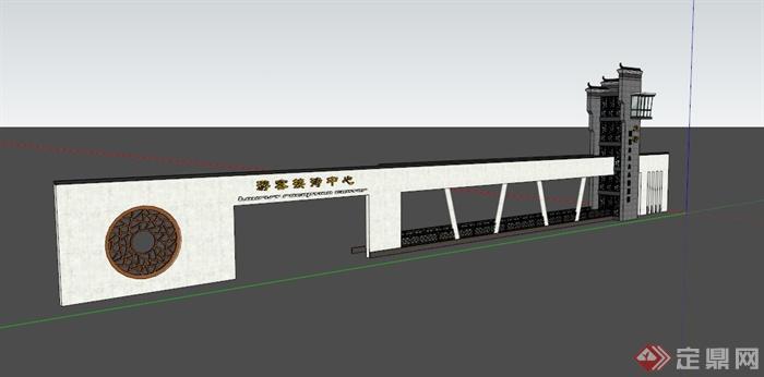 某现代中式景区大门设计su模型素材(1)