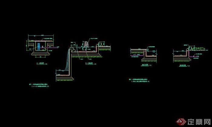某现代喷泉水池设计cad施工图
