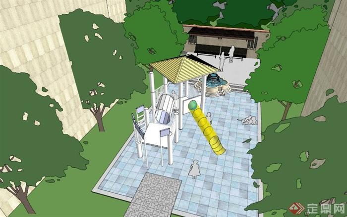 欧式居住小区水景住宅景观su模型[原创]