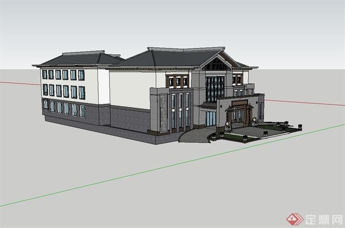 某现代中式高端酒店会所建筑设计su模型(4)图片