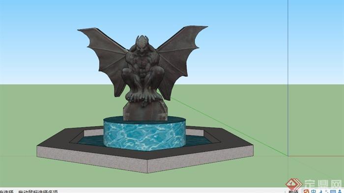 欧式暗黑蝙蝠雕塑水池景观su模型(3)