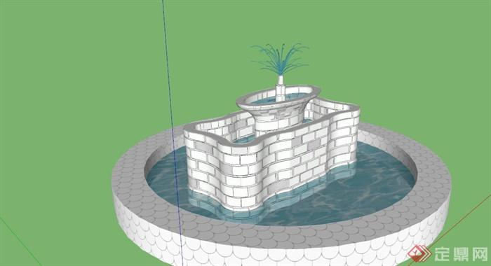 圆形水池喷泉设计图展示