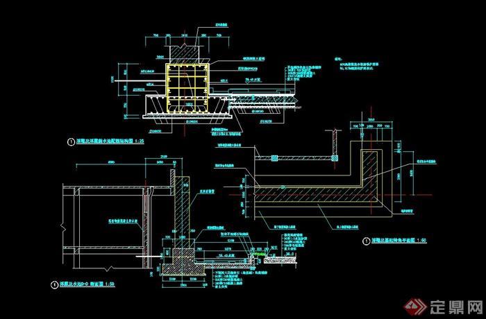 某小区现代水池设计cad施工图