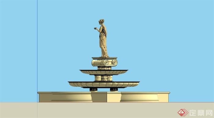 欧式多层雕塑喷泉水池su模型