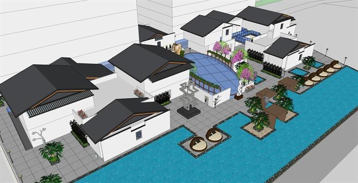 某現代中式風格屋頂建筑及景觀設計su模型