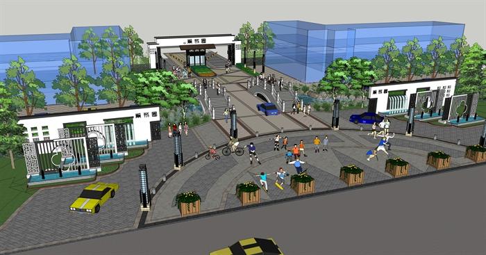 新中式住宅小区入口大门su模型[原创]图片