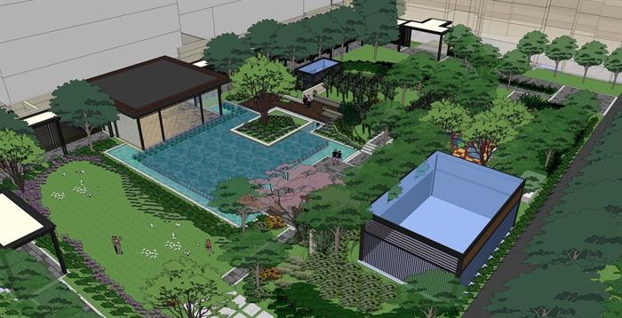 现代中式宅间景观设计su方案[原创]