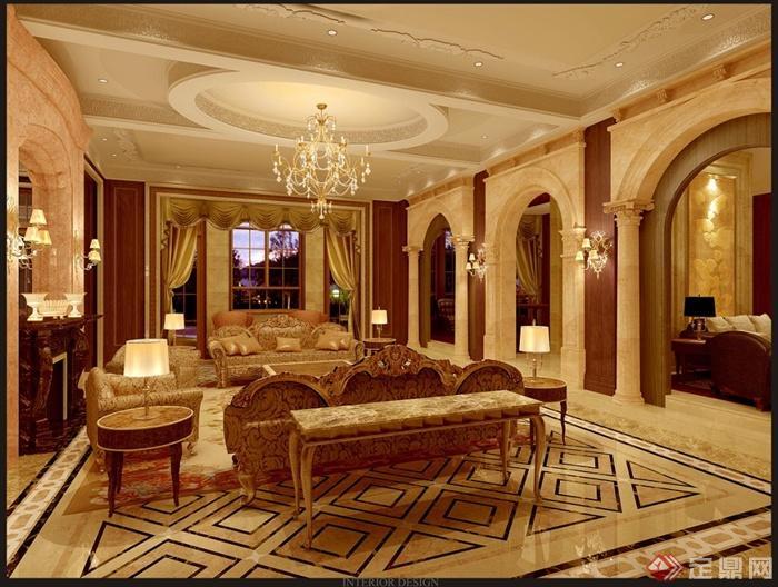 上海檀宫别墅住宅空间设计jpg方案及效果图(1)