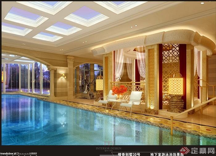上海檀宫别墅住宅空间设计jpg方案及效果图(3)