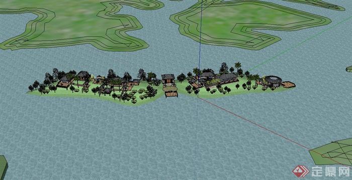 广西某湖心岛私人别墅住宅设计su模型(3)