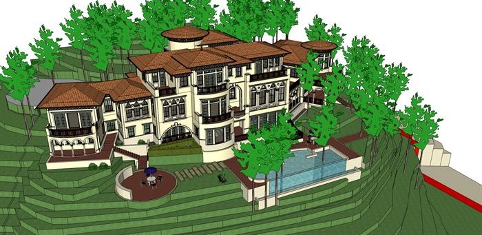 某欧式精细山地会所建筑设计su模型