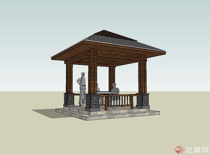 某现代中式风格庭院凉亭设计su模型